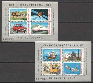 RM333 1988 ROMANIA TRANSPORT SHIPS TRAINS CARS EUROPEAN COOPERATION BL239-40 MNH