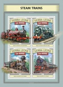 Sierra Leone - 2016 Steam Trains - 4 Stamp Sheet - SRL161110a