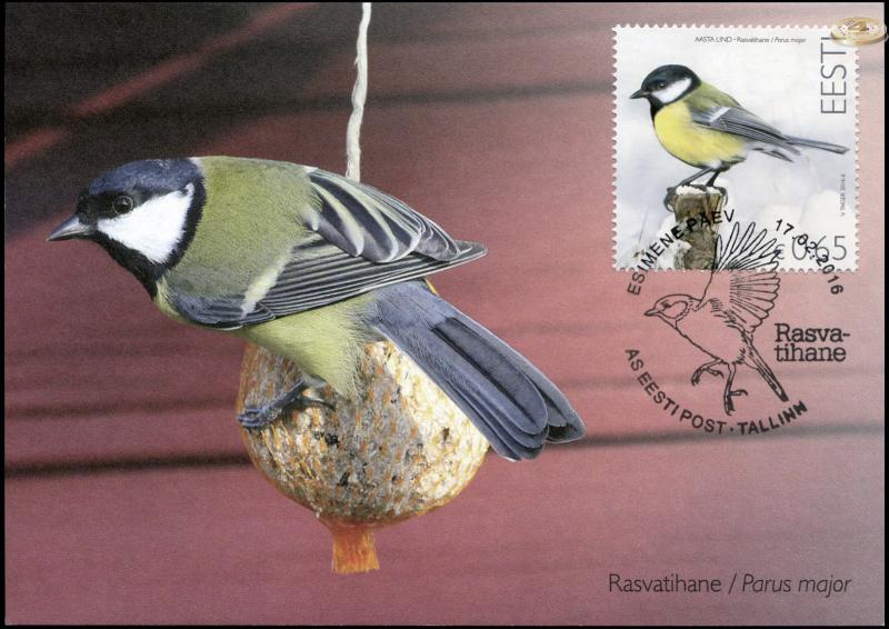 Estonia. 2016. Great tit (Maximum Card, M)