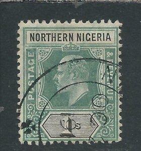 NORTHERN NIGERIA 1905-07 1s GREEN & BLACK FU SG 26 CAT £110