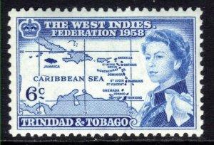Trinidad & Tobago 1958 QE2 6ct Blue Inauguration MM SG 282 ( J174 )