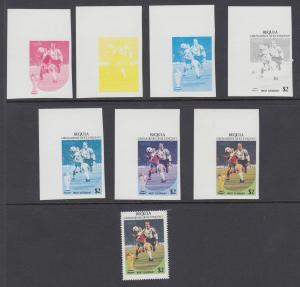 Bequia Sc 229 MNH. 1986 World Cup Soccer, Imperf Progressive Proofs XF