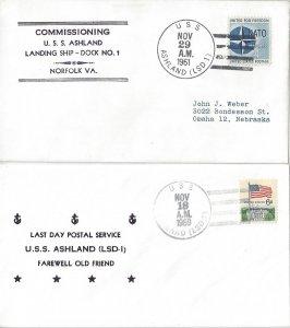 US Naval Cover USS Ashland LSD 1  1961 Commissioning, 1969 LDPS