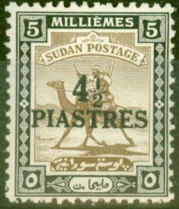 Sudan 1941 4 1/2p on 5m Olive-Brown & Black SG79 Fine Lightly Mtd Mint