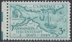 # 984 3c Founding of Annapolis, 300th Anniv. 1949 Mint NH