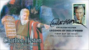 SC 4892, 2014 Charlton Heston, FDC, Black and White Pictorial Postmark