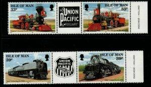 ISLE OF MAN SG522/5 1992 UNION PACIFIC RAILROAD MNH
