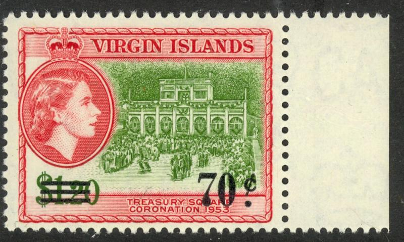 BRITISH VIRGIN ISLANDS 1962 70c on $1.20 Treasury Sq Surcharge Issue Sc 137 MNH