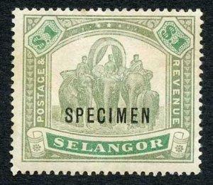 Selangor SG61s One Dollar Opt Specimen (M/M Hinge remainders)