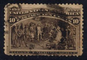 US #237 Columbus Presenting Natives, used (9.00)