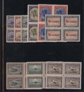 Greenland #10 - #18 XF/NH Rare Block Set