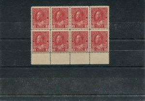 #109 3c carmine Admiral margin block of 8 VF MNH Cat $720 PO fresh Canada mint