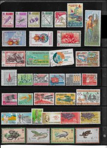 Indonesia 34 used stamp mini-collection - 1 damaged stamp not counted- 13304