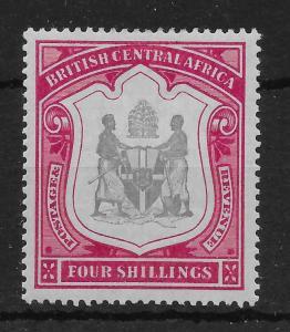 NYASALAND SG50 1897 4/= BLACK & CARMINE MTD MINT