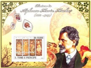 Sao Tome & Principe 2008 ALPHONSE MUCHA Paintings s/s Perforated Mint (NH)