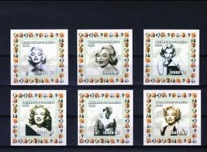 Mozambique 2002 MARILYN MONROE 6 Deluxe s/s Mint (NH)