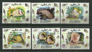 1969 Dubai 101-3, 105-7  Fish set of 6 CTO