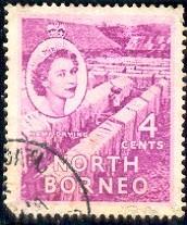 Hemp Drying, North Borneo stamp SC#264 used