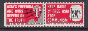 Radio Free Asia, Anti Communist se-tenant Cinderella Pair, VF