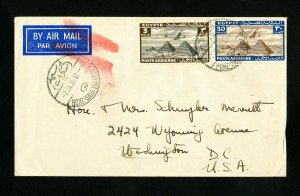 Egypt Stamps Rare Backstamped Airmail Cover