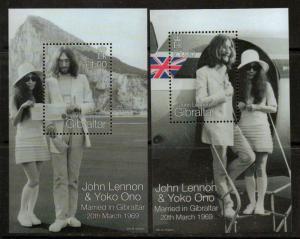GIBRALTAR SGMS880 1999 30th WEDDING ANNIV OF JOHN LENNON & YOKO ONO MNH