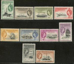 FALKLAND IS. DEP. Sc#1L19-28 1954 QEII Short Set to 1sh OG Mint Hinged
