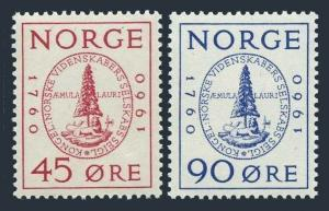 Norway 380-381,MNH.Michel 440-441. Royal Society of Sciences-200,1960.Seal.
