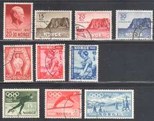Norway #B27 to B31, B48 to B52 All USED