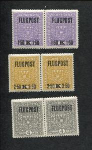 Pair Set of 3 1918 Austria Issues of The Monarchy Air Postage Stamps #C1-C3