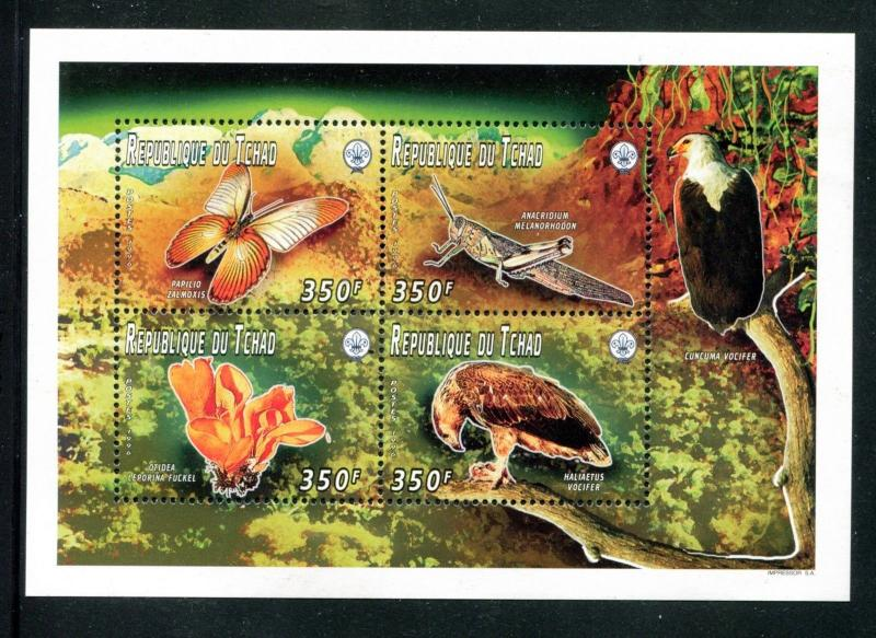 Chad 653a, MNH, Insects Butterflies 1996. x24066