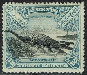 NORTH BORNEO 1897 CROCODILE 12C PERF 14.5 - 15