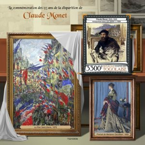 TOGO - 2021 - Claude Monet - Perf Souv Sheet - Mint Never Hinged