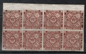 Newfoundland #12a Extra Fine Mint Block Of Eight  **With Certificate**