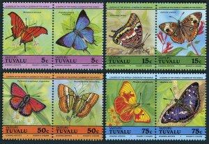 Tuvalu Vaitupu 39-42 ab pairs,MNH.Michel 45-52. Butterflies 1985.