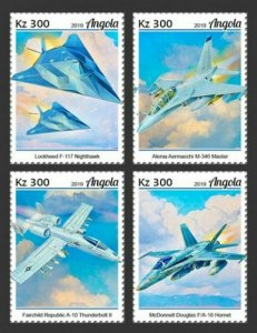 Angola - 2019 Military Planes on Stamps - Set of 4 Stamps - ANG190121a
