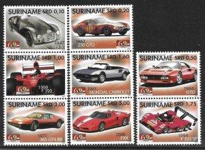 2007    SURINAME  -  SG.  2254 / 2261  -  FERRARI CARS   -  MNH