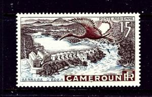 Cameroun C31 MH 1953 Bird flying near a dam