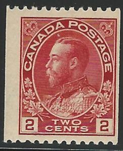 Canada, 1913, Scott #124, 2c carmine, Admiral, Mint, L.H., F-V.F.