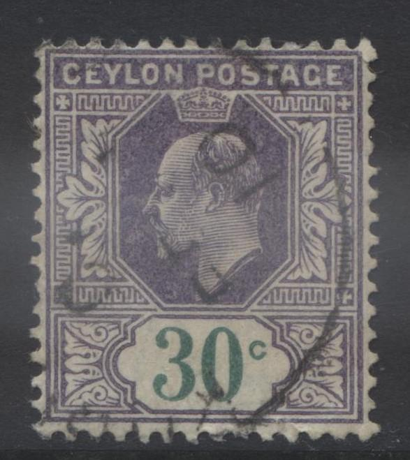 CEYLON -Scott 174- KEVII - Definitive- 1903- Wmk 2- Used -Single 30c Stamp3