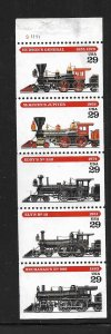 UNITED STATES, 2847A, MNH STRIP OF 5, LOCOMOTIVE