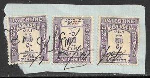 PALESTINE 1927 50m Violet General Revenue x3 on Piece Bale No. 260a VFU