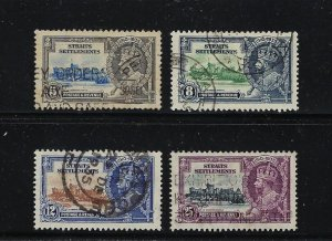 STRAITS SETTLEMENTS SCOTT# 213-216- GEORGE V 1935 SILVER JUBILEE- USED
