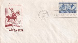 1952, Honoring Marquis de Lafayette, HF, FDC (E12003)