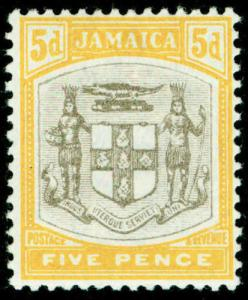 JAMAICA SG43, 5d grey & orange-yellow, VLH MINT. Cat £65.