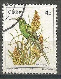 CISKEI, 1981, used 4c, Birds, Scott 8