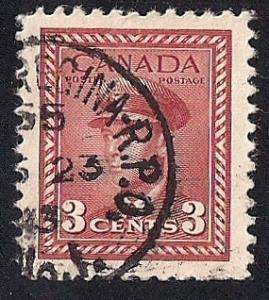 Canada #251 3 cent King George 6, used EGRADED XF 90 XXF