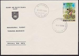 GILBERT & ELLICE IS 1975 First flight cover Tarawa to Marakei...............6191