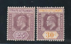 STRAITS SETTLEMENTS 1906 KEVII 25C AND 30C WMK MULTI CROWN CA