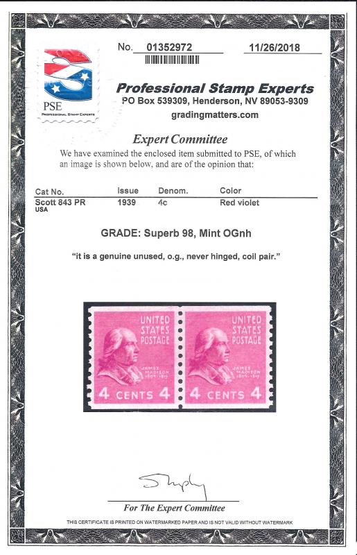 843 Mint,OG,NH Pair.. PSE Graded Supbeb 98.. SMQ $225.00.. Only 2 Graded Higher