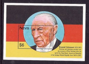 Nevis-Sc#781- id2-Unused NH sheet-Konrad Adenhauer-German Flag colours-1983-